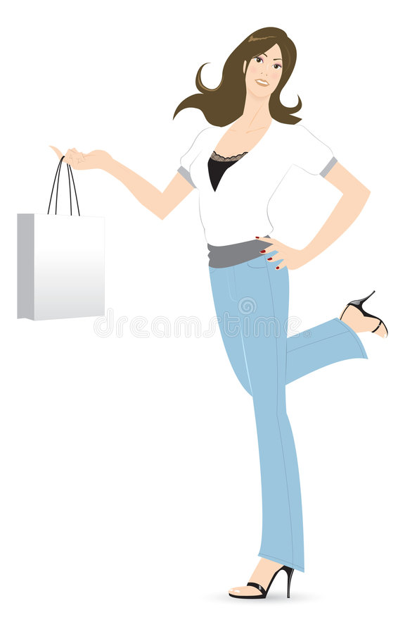 Download Shopping Time stock vector. Illustration of pretty, female - 1254761