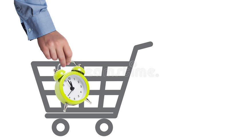 Shopping time concept. Alarm clock and shopping basket as shopping time concept vector illustration