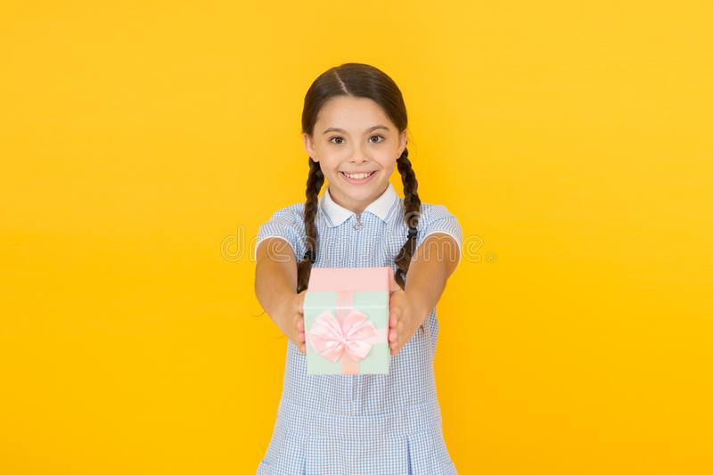 Shopping time. retro girl give present box. happy child in vintage look. happy birthday. school shopping sale. old. School fashion. gift box. boxing day royalty free stock photos