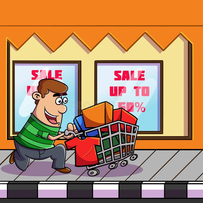 Shopping to the market. Illustration of someone who was shopping in the store for a huge discount