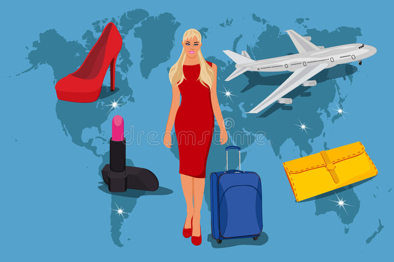 Shopping tour concept in flat style, fashion, vector illustration vector illustration