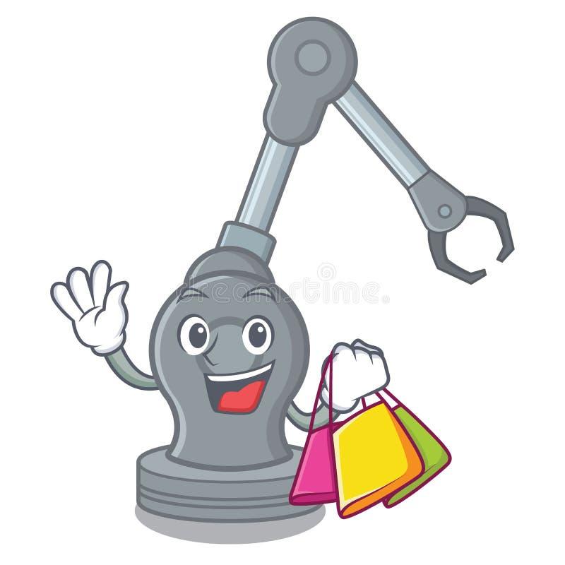 Shopping toy robotic arm machine on cartoon shape. Vector illustration vector illustration