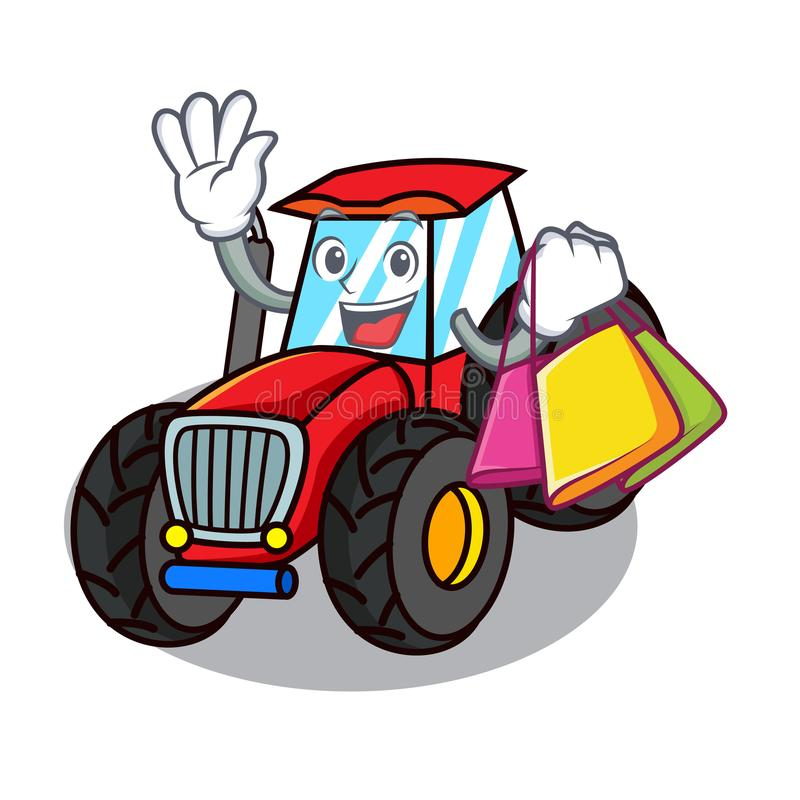 Shopping tractor character cartoon style. Vector illustration royalty free illustration