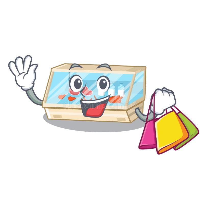 Shopping trade counter next to cartoon tables. Vector illustration vector illustration