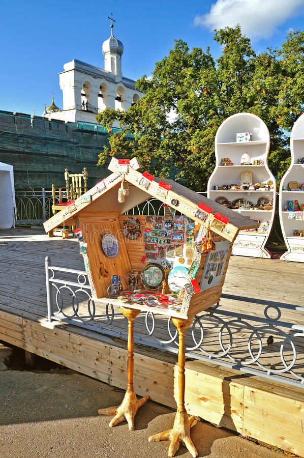 Shopping tray in form of hut on chicken legs selling souvenirs in Veliky Novgorod, Russia royalty free stock photo