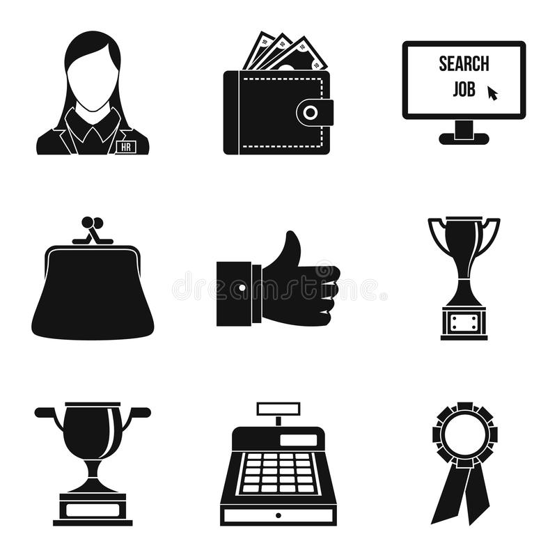 Shopping trip icons set, simple style stock illustration