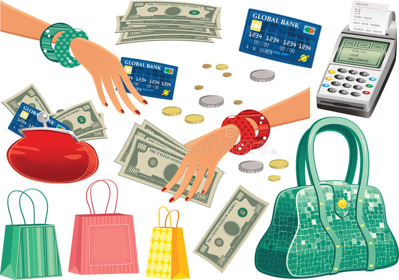 Shopping trip items vector illustration