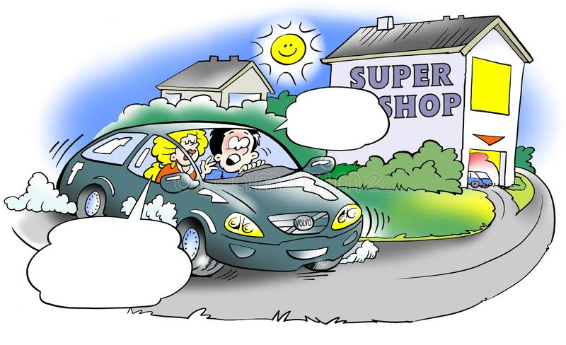 Shopping trip to super mall stock illustration