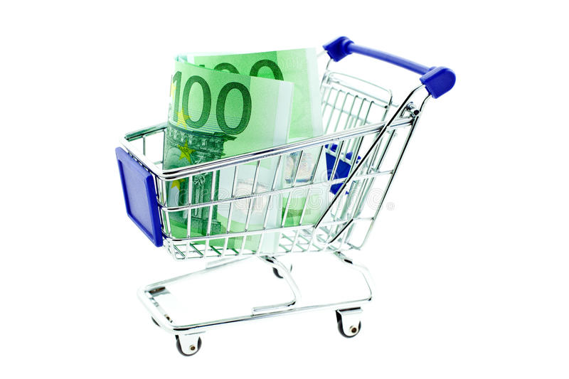 Download Shopping Trolley With 100 Euro Notes Isolated Stock Photos - Image: 15948003