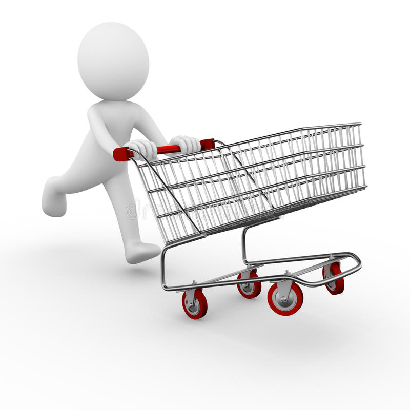 Shopping trolley. 3D anonymous man with a shopping trolley royalty free illustration