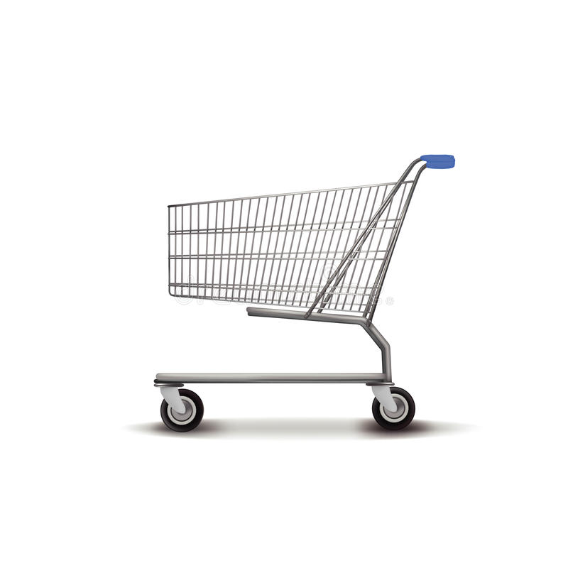Shopping Trolley. Empty shopping trolley isolated on white background