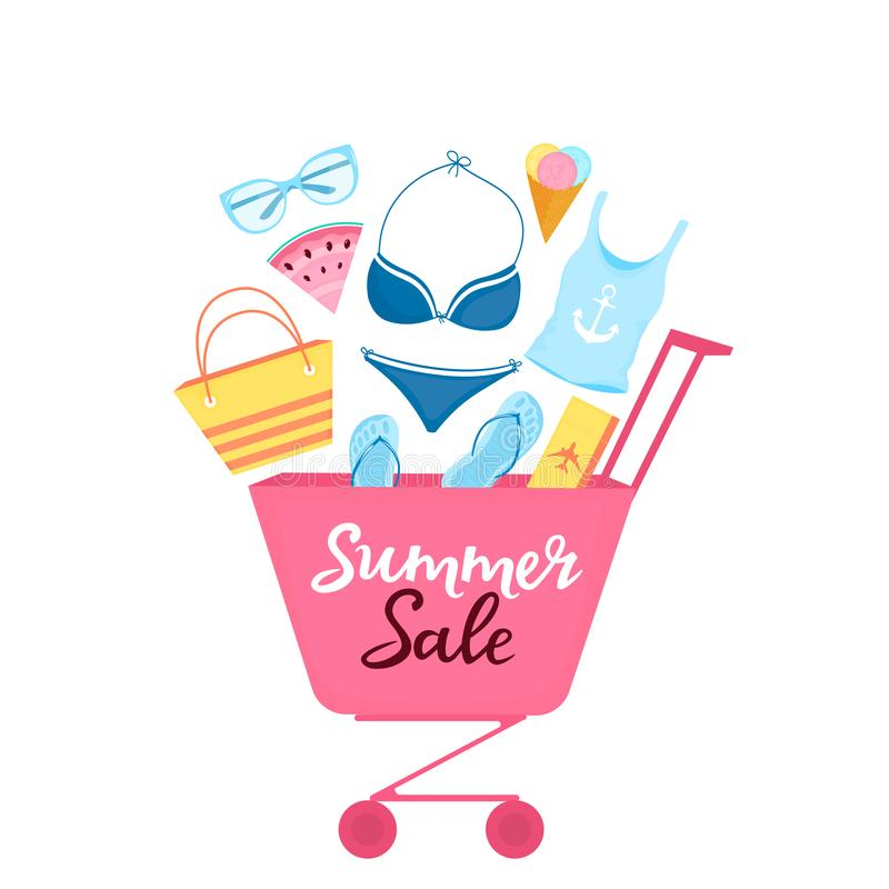 Shopping trolley with beach items and accessories for relaxing. Women`s swimsuit, sunglasses, flip-flops, bag, plane ticket vector illustration