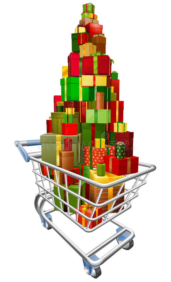 Download Shopping Trolley Cart With Lots Of Gifts Stock Vector - Image: 22452529