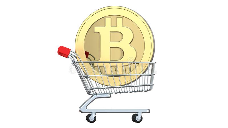 Shopping trolley with coins bitcoin, the concept of investment, exchange or purchase cryptocurrency money. 3d rendering. Isolated on white background stock illustration