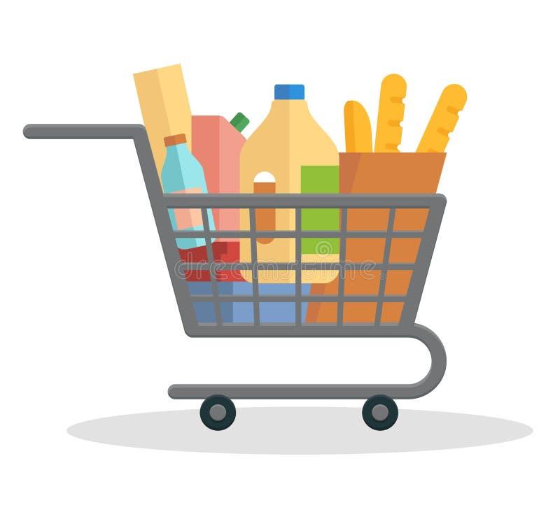 Shopping trolley full of food stock illustration