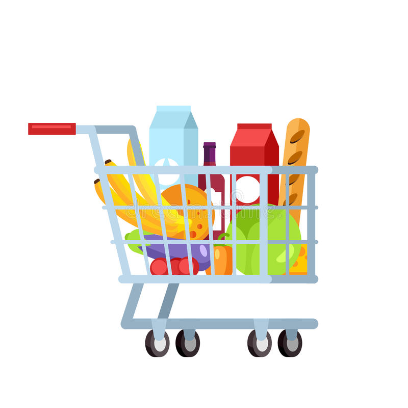 Shopping trolley full of fruit and vegetable vector illustration