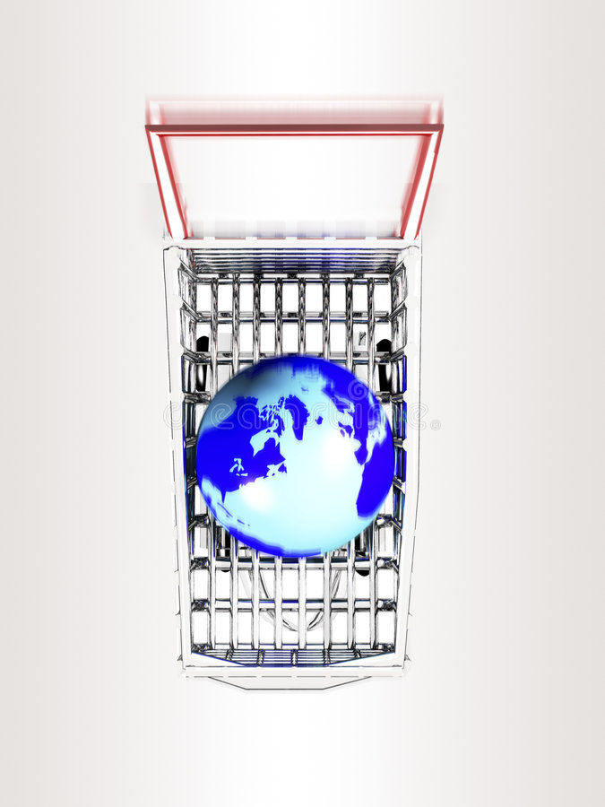 Shopping Trolley With Globe. Inside royalty free illustration