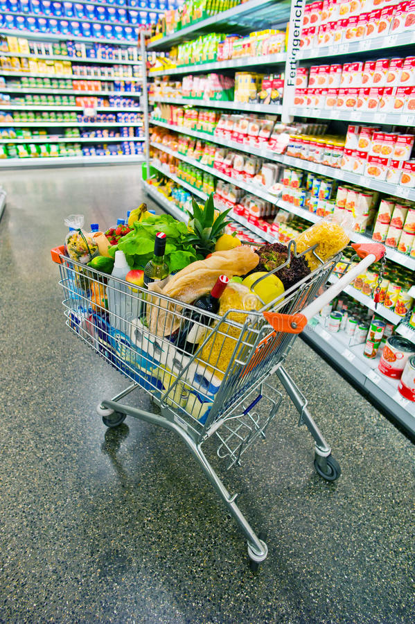 Free Shopping Trolley In A Supermarket Royalty Free Stock Images - 25836229