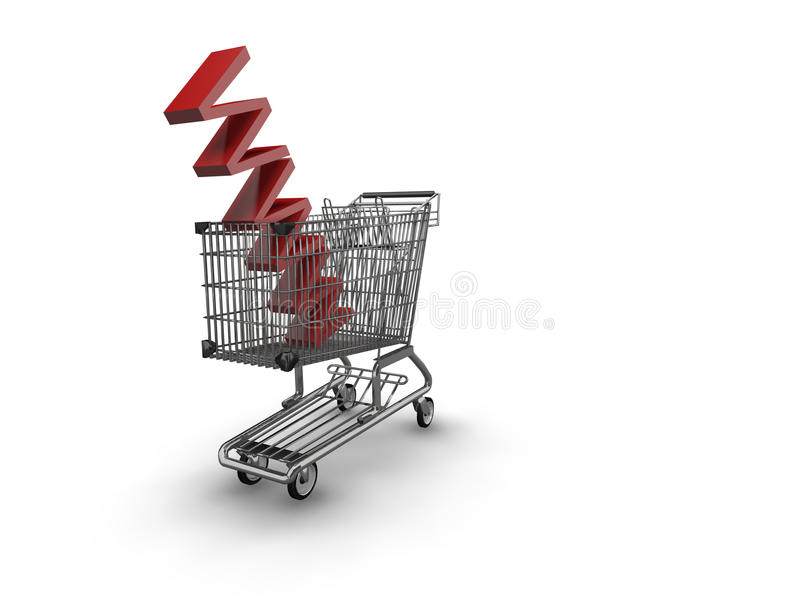 Shopping trolley with the letters www in basket royalty free illustration