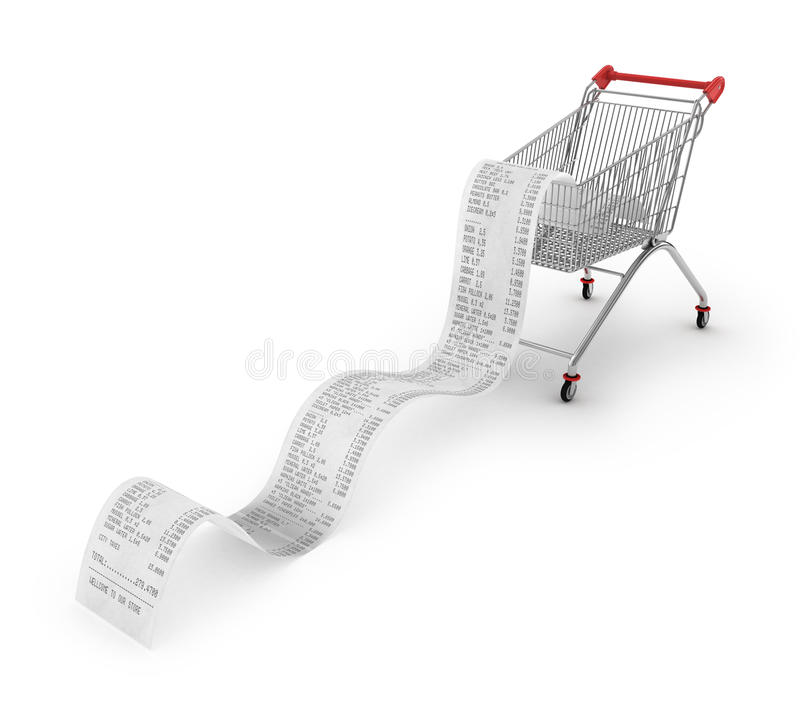 Shopping Trolley With long Receipts. Over White Background royalty free stock images