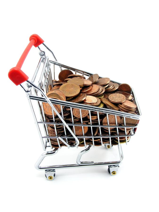 Shopping Trolley With Money Stock Images