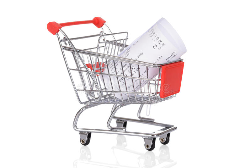 Shopping Trolley With Rolled Receipts. Over White Background stock image