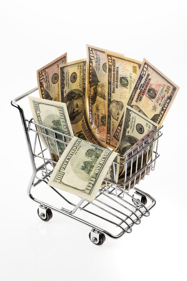 Shopping U För Korgdollarpengar S Arkivfoton
