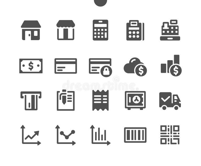 Shopping v1 UI Pixel Perfekt, väl utformad Vector Solid Icons 48x48, klar för 24x24 Grid för webbgrafik och webbappar stock illustrationer