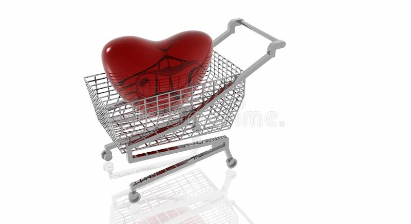 Shopping for Valentines Day. Red glass heart in shopping cart vector illustration
