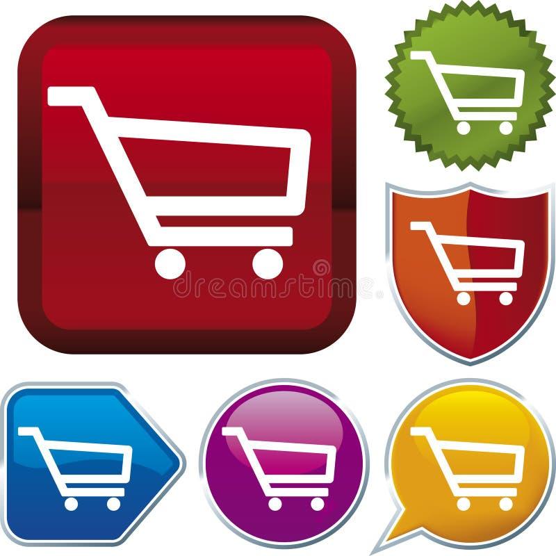 shopping ve för vagnssymbolsserie stock illustrationer