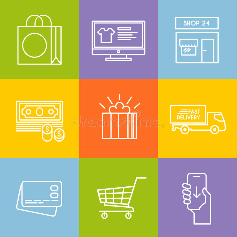 Shopping vector line icon set. Colourful shopping vector icon set for your business, web sites, presentations, advertising etc. Quality design illustrations vector illustration