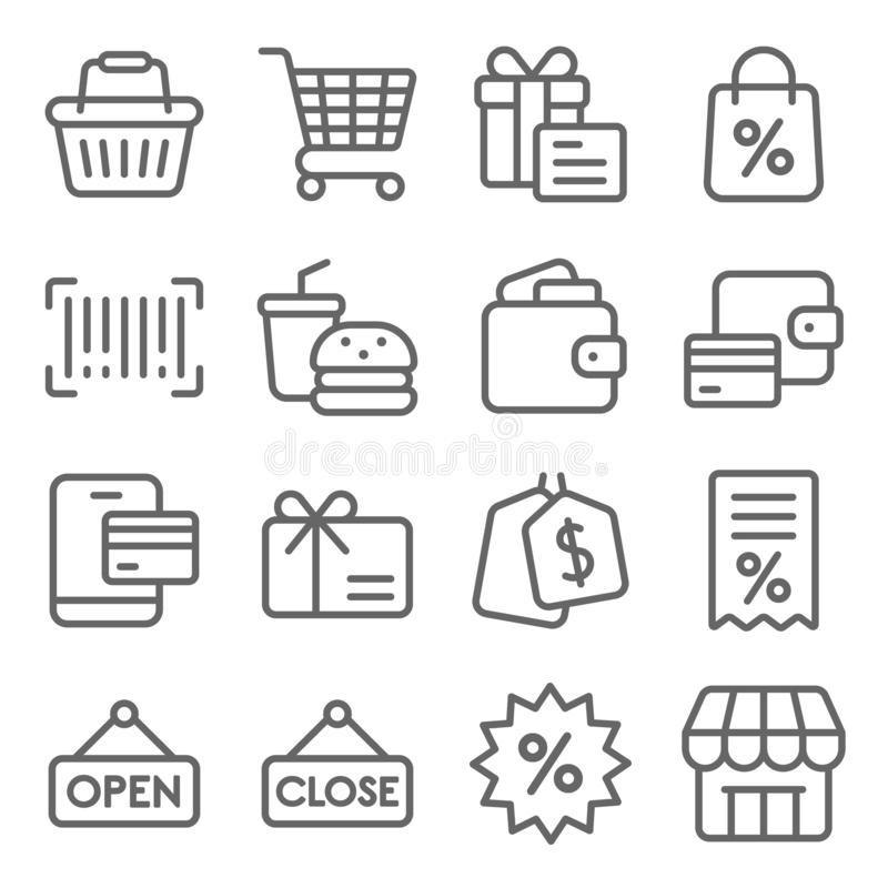 Shopping Vector Line Icon Set. Contains such Icons as Wallet, Basket, Cart, Barcode, Bill and more. Expanded Stroke. Shopping Vector Line Icon Set. Contains such stock illustration