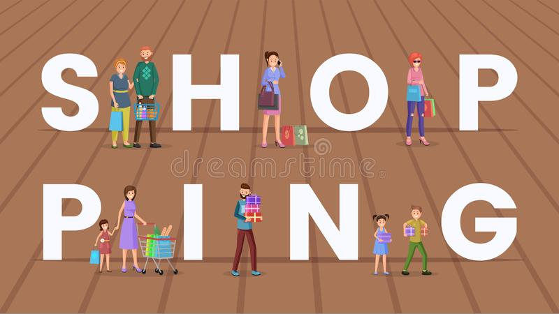 Shopping vector word concept banner. Tiny shoppers holding purchased products cartoon characters. Adult shoppers with grocery store basket, cart, male buyer royalty free illustration