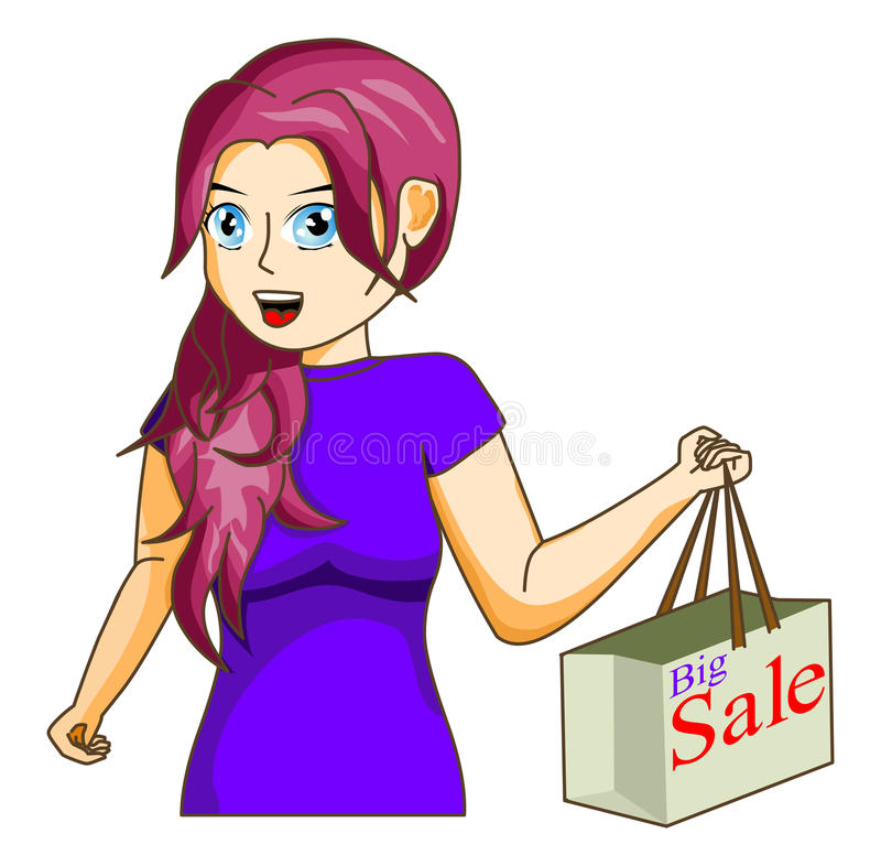 Shopping. Vector Young woman shopping. Fully scalable and editable, easy color change. Included file formats: EPS10. easy to edit layers and groups no meshes royalty free illustration