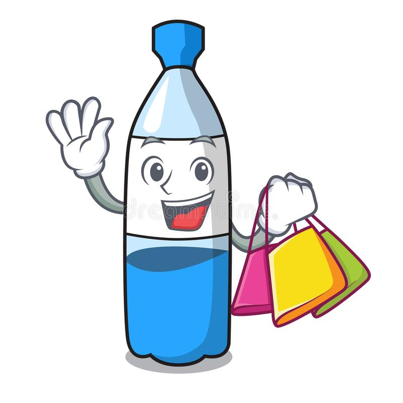 Shopping water bottle character cartoon royalty free illustration