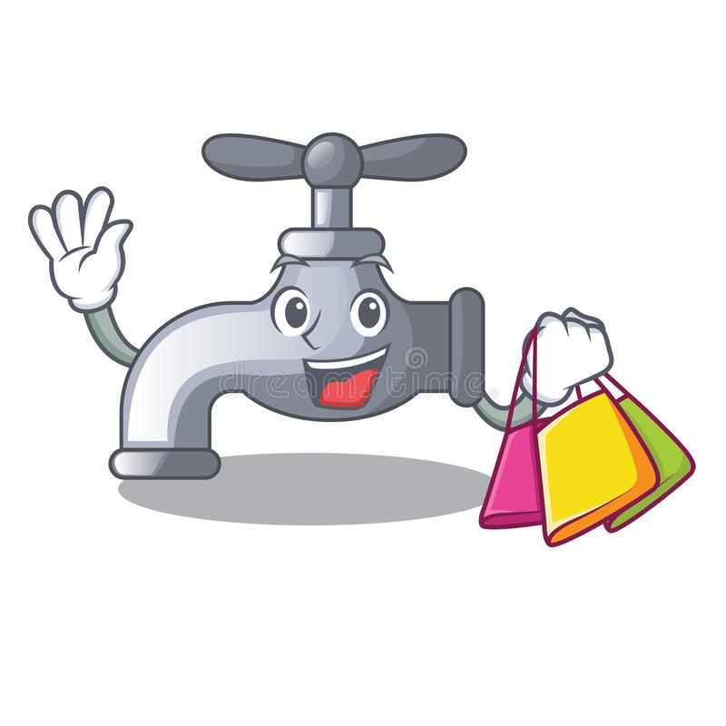 Shopping water tap installed in cartoon bathroom royalty free illustration