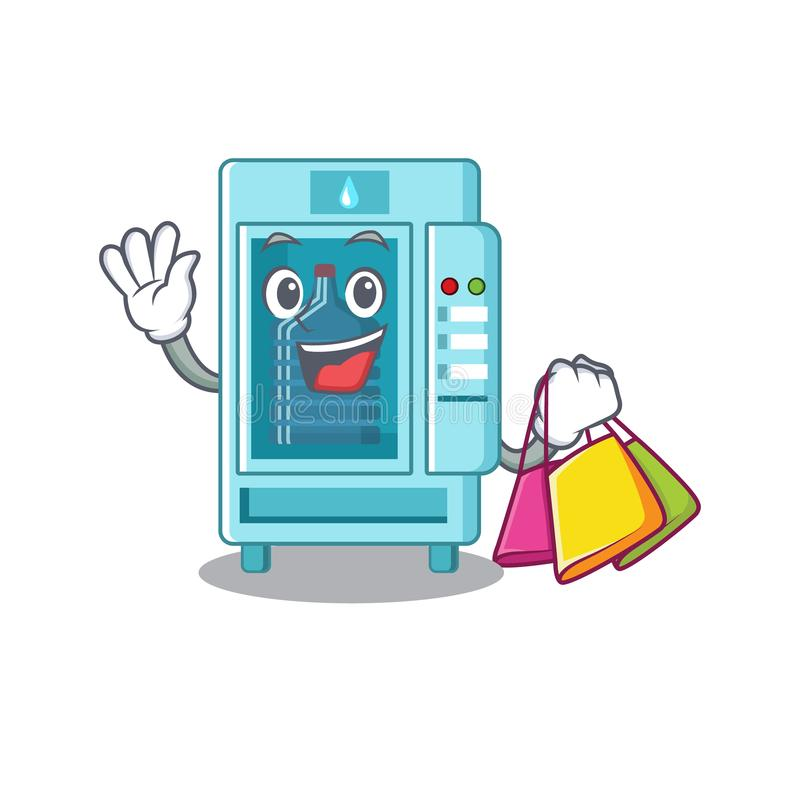 Shopping water vending machine in a character vector illustration