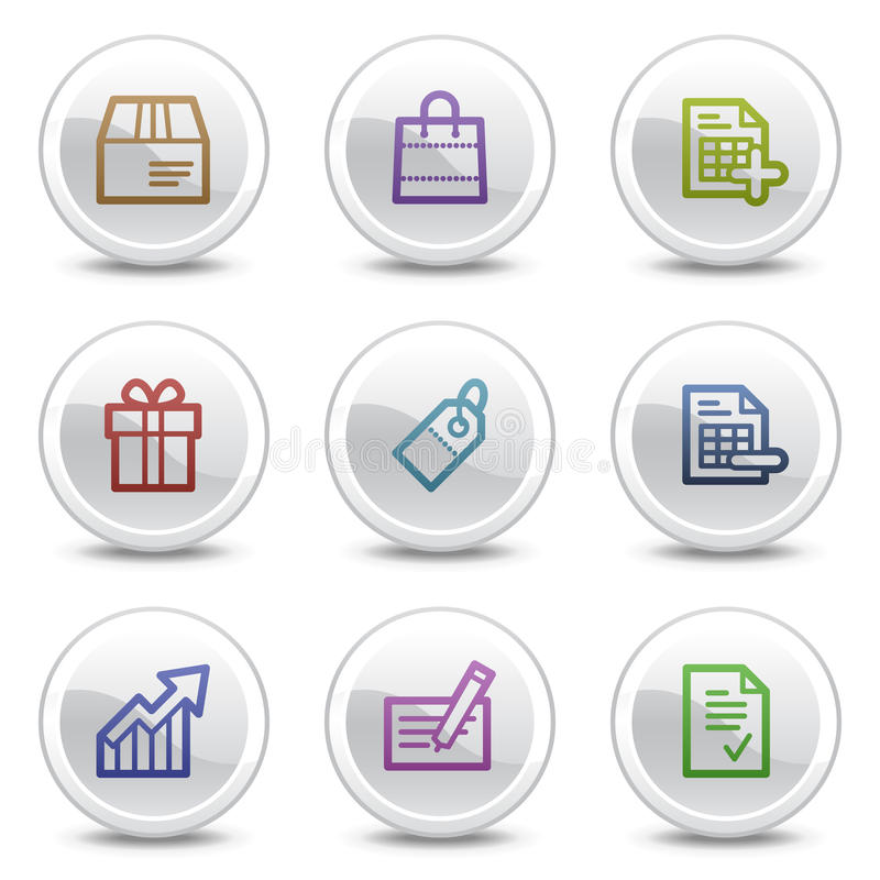 Shopping web colour icons, white circle buttons vector illustration