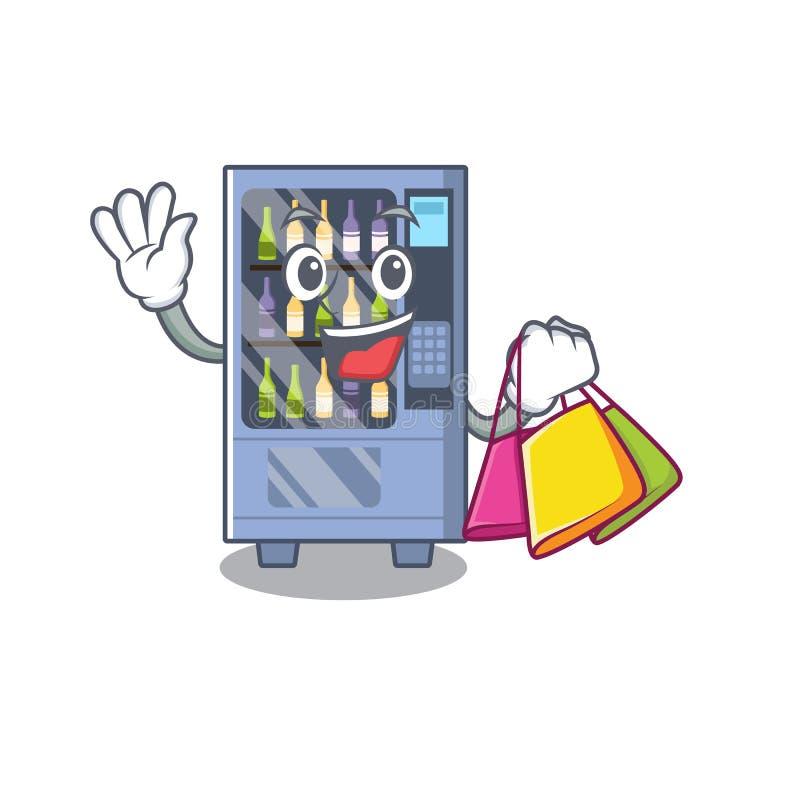 Shopping wine vending machine on a mascot. Vector illustration stock illustration