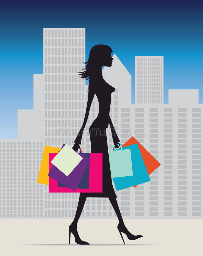 Shopping in winter royalty free illustration