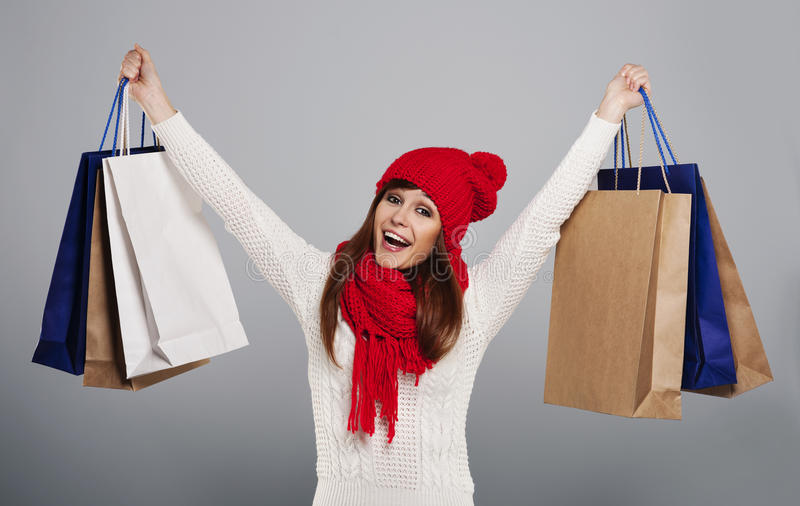 Shopping during winter royalty free stock image