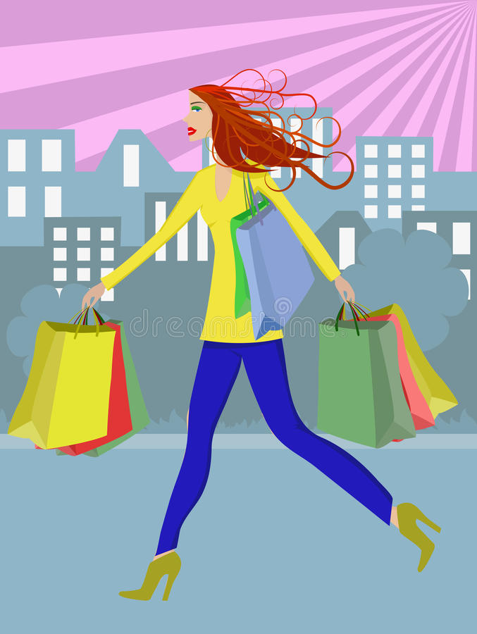 Download Shopping woman stock vector. Illustration of building - 18036394