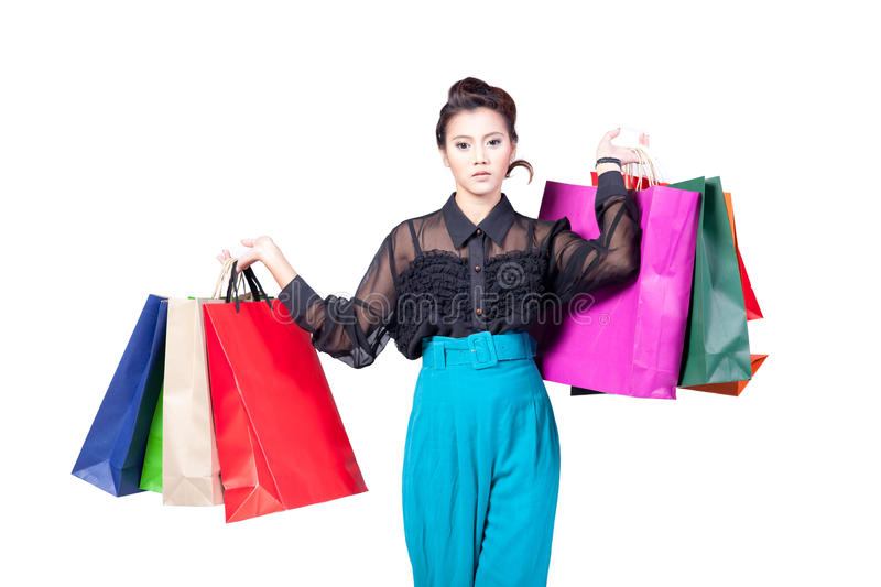Shopping woman. Happy holding shopping bags isolated on white background royalty free stock photos