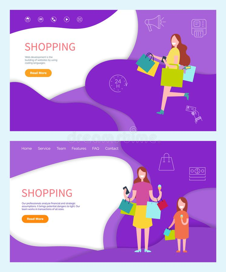 Shopping Woman Buying Products on Sale Discounts. Shopping woman buying products on sale, using discounts vector. Mother and daughter returning home from shop royalty free illustration