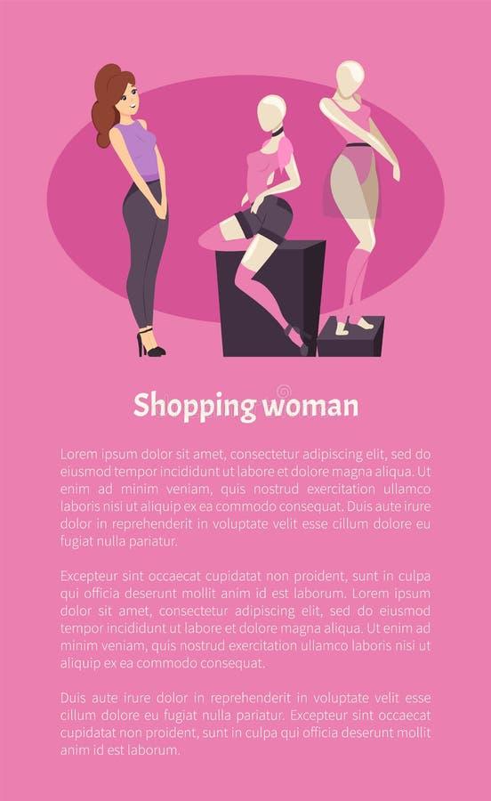 Shopping Woman Female Admiring Fashion Brand Cloth stock illustration