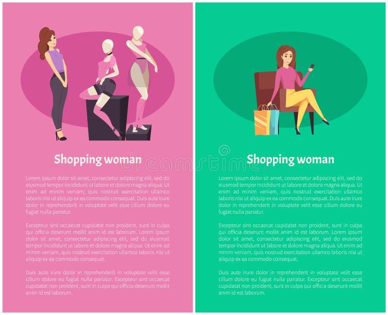 Shopping Woman Female Admiring Fashionable Brand stock illustration