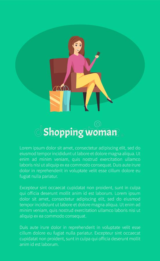 Shopping Woman Female Shopaholic with Mobile Phone vector illustration