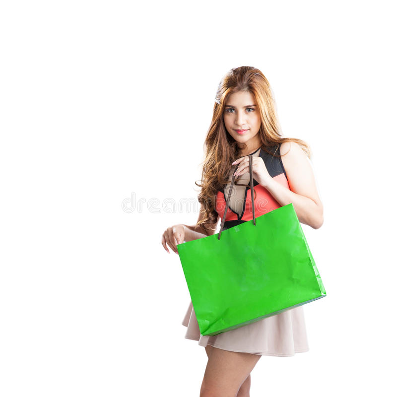 Shopping woman happy looking stock photo