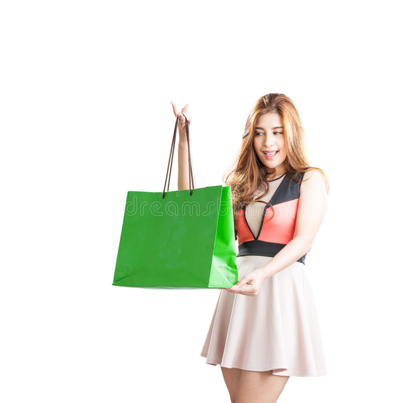Shopping woman happy looking royalty free stock photos