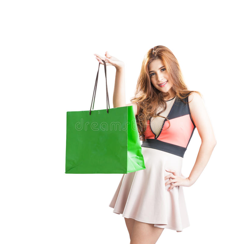 Shopping woman happy looking stock photography